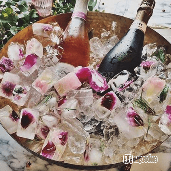 Flower ice cubes and champagne, Reverb_Events, Instagram